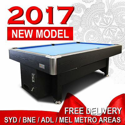 Coin Operated 8Ft Black/blue Pool Table Snooker Billiard Free Accessories
