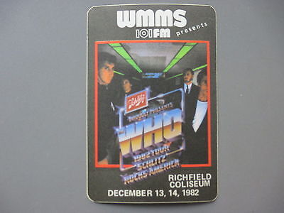 The WHO satin cloth radio sticker AUTHENTIC Cleveland December, 1982 WMMS !