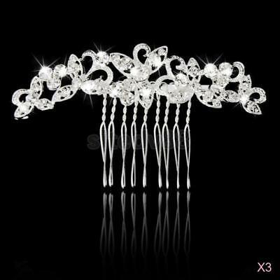 3x Bridal Wedding Party Flower Crystal Rhinestone Diamante Women Hair Clip Comb