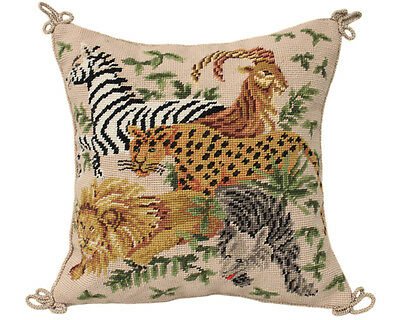 Handmade Animals Needlepoint Pillow Cushion Sham
