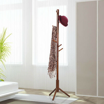 9 Hooks Wooden Coat Hat Rack Clothes Stand Hanger RackTree-shaped Walnut 180CM