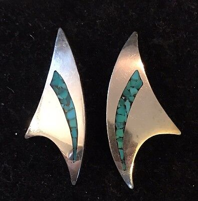 Modernist 925 Sterling Silver Earrings Large Chunky Turquoise Chip Inlay 10Gr