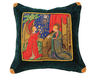 Handmade Christian Figural Vintage Wool Needlepoint Petit Point Pillow Sham
