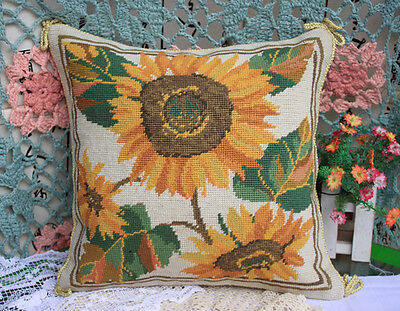 Finished Needlepoint Pillow -- Sunflower