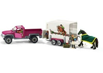 Schleich Model Horse Accessory 42346 - Pickup Truck With Horse Trailer