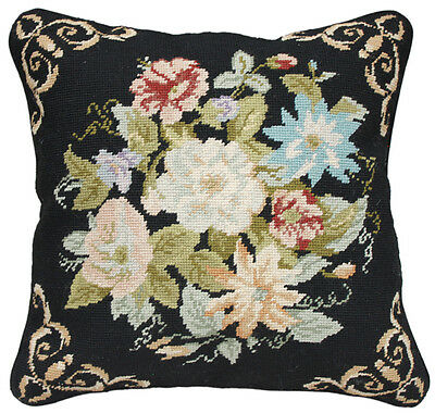 Finished Needlepoint Pillow -- Flower