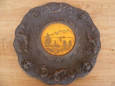 Vintage Old Large Size Brass Italy Made Platter, Plate (C766)