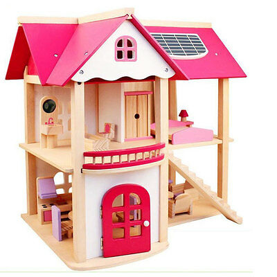 Large Child Kids GIFT Wooden Toy 2 LEVEL DOLL HOUSE FURNITURE Pretend Play