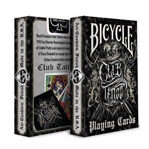 Bicycle Club Tattoo **BLACK** Playing Cards.Sealed New QTY 1 Deck.