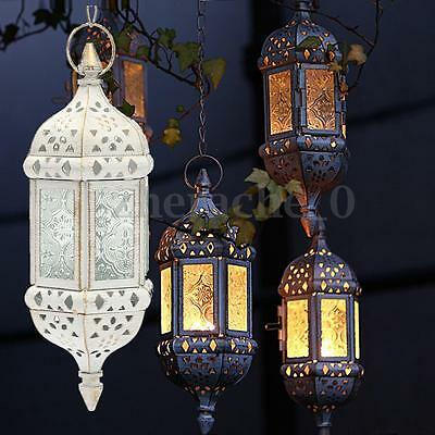 Hanging Chained Moroccan Style Glass Candleholder Candle Stand Hanging Lantern