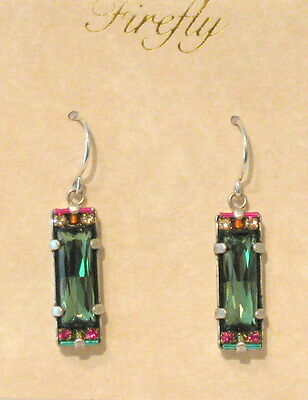 Firefly multicolor Swarovski crystal earrings with large green Erinite crystal