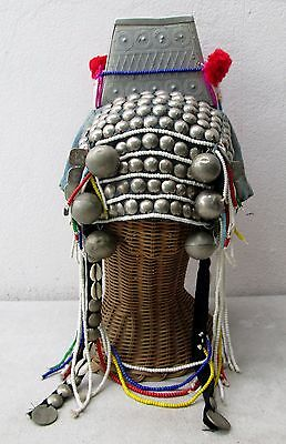 REAL! Vintage Akha Hill Tribe Woman's Head Dress Hat Free Wicker Stand