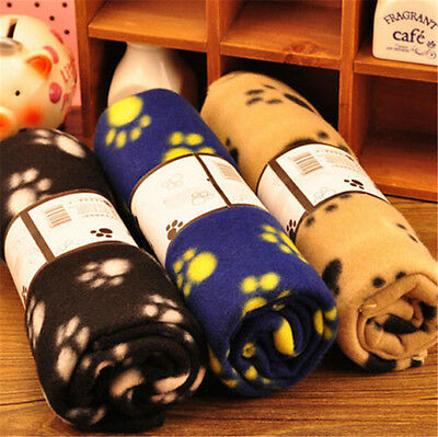 Warm Paw Print Soft Pet Dog Cat Puppy Fleece Soft Blanket Mat Cover Cushion Hot