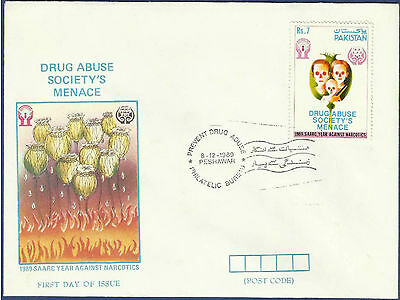 Pakistan 1989 Mnh Fdc Saarc Year Against Narcotics Drug Drugs Addicts