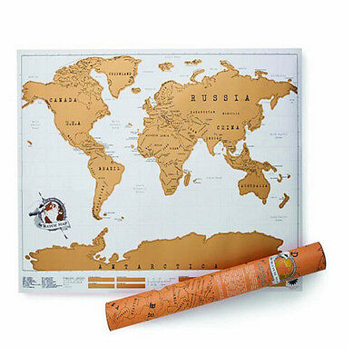 Luxury Travel Edition Scratch Off World Map Poster Personalized Journal Log Gift