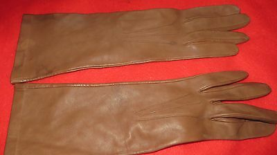 Vintage Pair Of Ladies Butter Soft Milore Long Brown Leather Gloves - Size 7 1/2