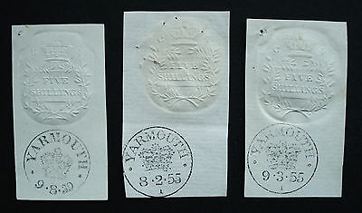 Colourless 5 Shillings Embossed Stamps with Yarmouth Stamp Office Franks