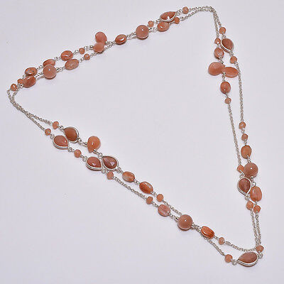 925 Sterling Solid Silver Long Necklace Peach Moon Stone & Sun Stone (BAII)