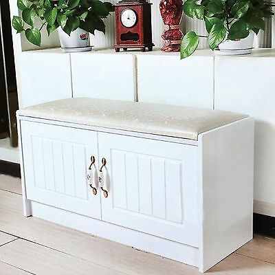 Hallway Storage Bench White Shoe Rack Cabinet Soft Cushion Cupboard Furniture
