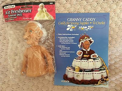 Granny  Doll,And A Crochet  Pattern To Make Granny Caddy For Sewing Supplies,