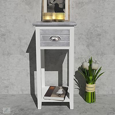 Small Telephone Table Side Hall Plant Lamp Stand Wood Bedside White Unit Drawer