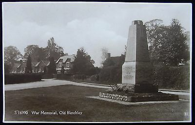 Old Real Photo Postcard - War Memorial, Old Bletchley, Buckinghamshire