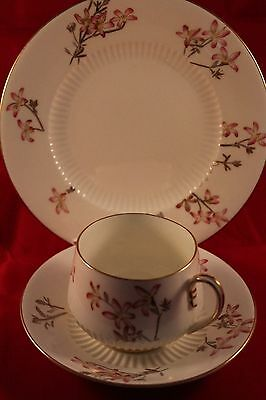 ANTIQUE 1886c GEORGE JONES CRESCENT CHINA COFFEE TRIO CUP SAUCER & PLATE FLORAL