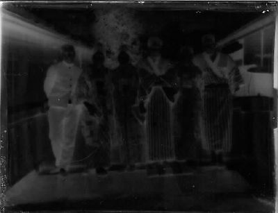 Antique Japan Japanese Glass Negative Group in Kimono Photo C.1917 #7