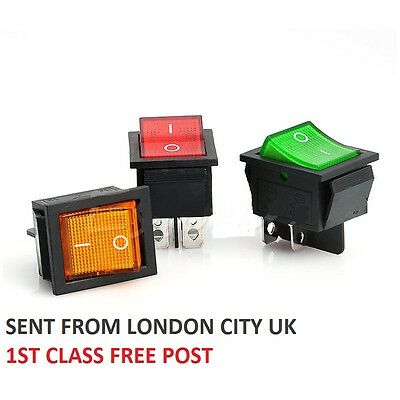 4pin Snap-in illuminated Rocker Switch 125V 250V/16A DPST ON-OFF LONDON CITY UK
