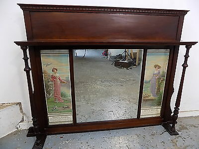 overmantle mirror,mirror,overmantle,fireplace,pillars,edwardian,antique,mahogany