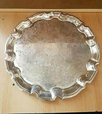 Large beautiful detailed silver coloured serving tray, (c2)