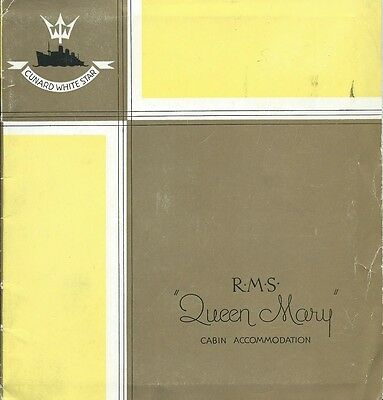 "Shipping, Cunard White Star Line, ""queen Mary"" Cabin Accommodation Booklet"