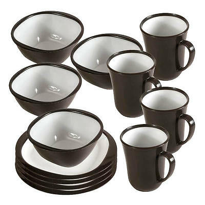 Kampa 12 Piece Dinner Set Charcoal Made Of A Durable Plastic, Ideal For Camping