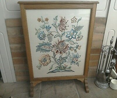 Vintage glazed wooden fire screen with Tapestry insert