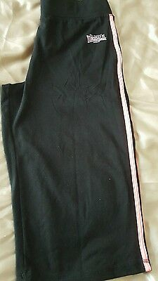 lonsdale ladies fitness crop trousers black size 12