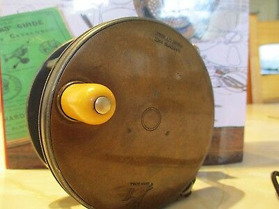 Vintage Hardy Brothers 4 Inch Wide Brass Faced Perfect Salmon Fly Reel