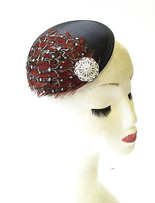 Black Mahogany Brown Feather Fascinator Ascot Pillbox Hair Hat Races Vtg 1533