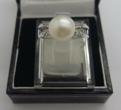 925 Sterling Silver Freshwater Cultured White Pearl Ring Size K UK 5 US #62