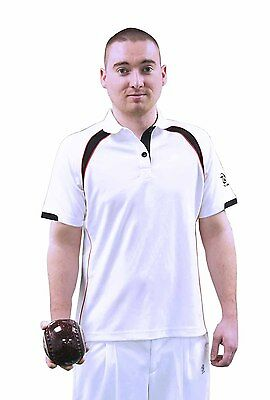 Mens Taylor Lawn Bowls Ace XV1 Sports Polo Shirt White & Silver, Red/Black, Blue