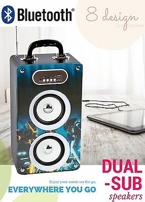Brand New 20 watt Portable Dual Sub Speaker Bluetooth With 8gb USB - Tron