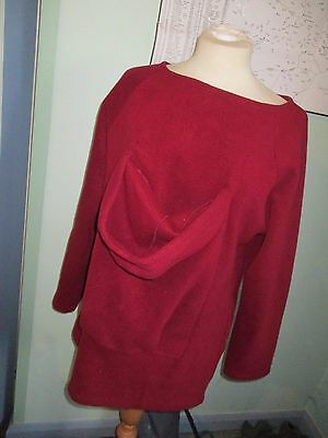 Ladies Deep Red Fleecy Jumper, With Newborn Pouch, Size L, Excellent Condition
