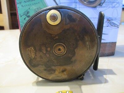 Vintage Hardy Brothers 4 Inch Wide Brass Faced Perfect Salmon Fly Reel & Line