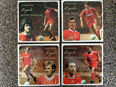 Great set of four Liverpool FC 'Legends ceramic coasters, Keegan, Dalglish, Rush