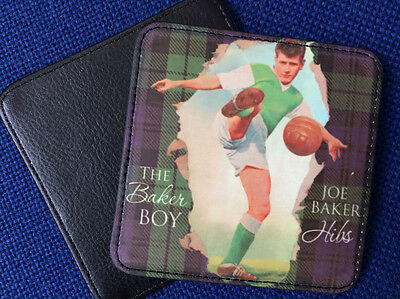 Great leather-style coaster featuring goalscoring legend Joe Baker of Hibernian
