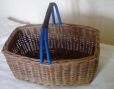 Lovely Vintage Wicker Shopping Basket with Blue & Black Plastic Weave 50's 60s
