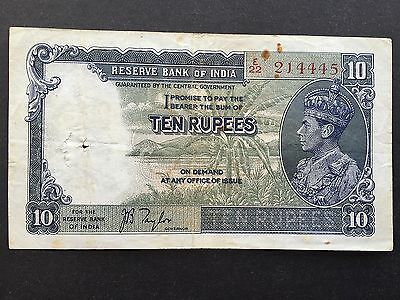 India 10 Rupees P19a King George VI Signed Taylor Issued 1937 Fine