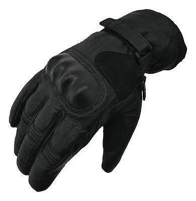 Texpeed Waterproof Black Short Length Leather Motorcycle Gloves With Protection