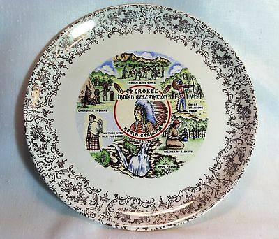 vintage 50's-60's CHEROKEE INDIAN RESERVATION, North Carolina Collector Plate