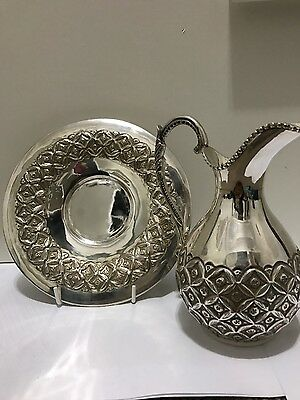 Sterling silver milk jug and matching dish