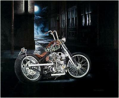 Motorcycle Art Indian Larry Bobber Signed Ltd Edition Print #570 by Guillemette